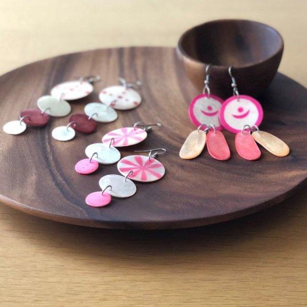 画像1: 【SALE】シェルピアス:flower_pink (1)